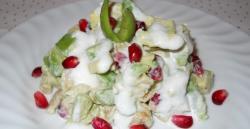 Salade met avocado, kip